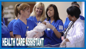 Health care assistant students at work