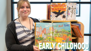 Early childhood care student reading a children's book