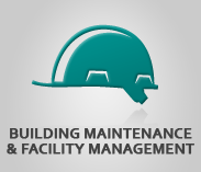 """Building Maintenance & Facility Management"" (text) Sector Image with photo of hardhat"
