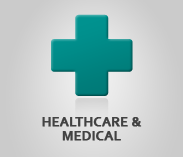 """Healthcare & Medical"" (text) Sector Image artwork: teal red cross symbol"
