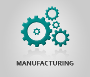 """Manufacturing"" (text) Sector Image with artwork of cog wheels"