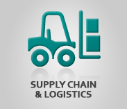 """Supply Chain & Logistics"" (text) Sector Image with artwork of a forklift"