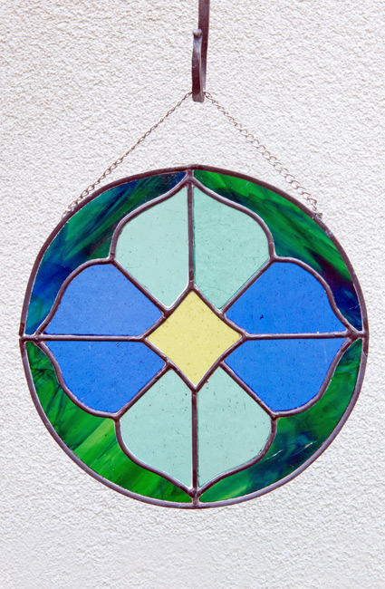 Stained-Glass Suncatcher - Green & Blue