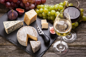 Wine and Cheese with fruit stock art
