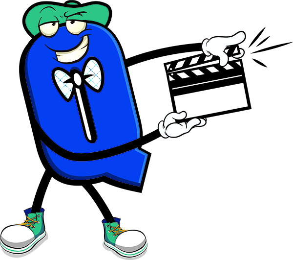 QEP Character holding movie clapboard