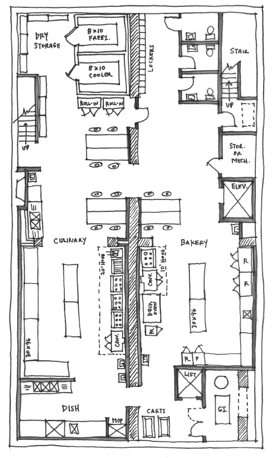 Basement floor plan with half culinary and half baking.