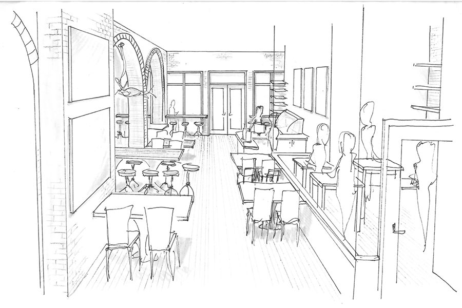 Line drawing of what bakery side of 7 West Bay may look like once renovation is complete.