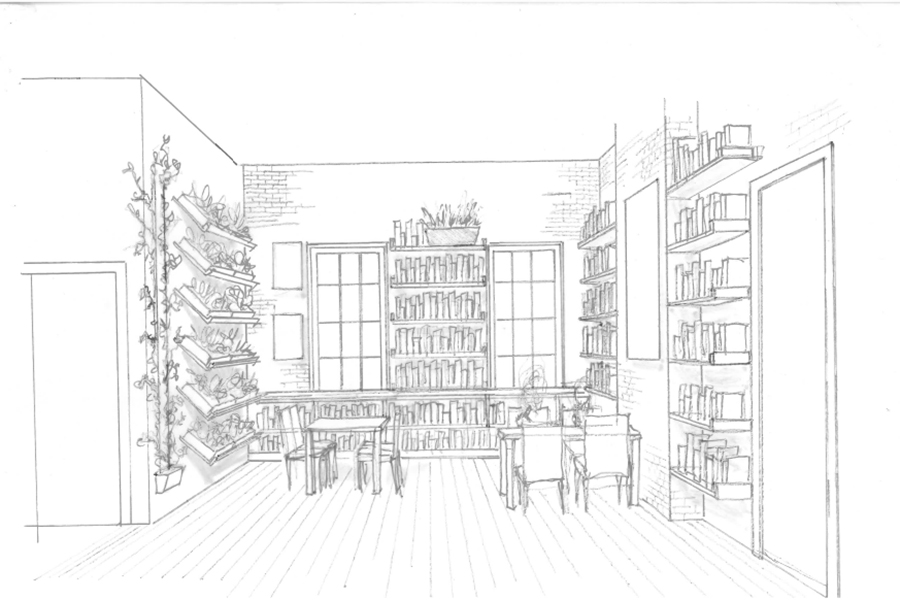 Herb Library sketch of a library with hanging herb planters.
