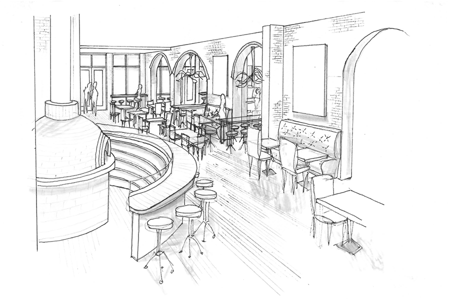 This line drawing shows what the restaurant will look like after the renovation with a wood fired oven and tables.