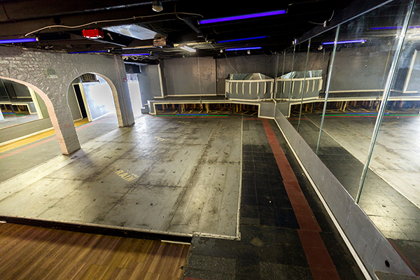 Dance floor and stage from 7 West Bay Street interior.