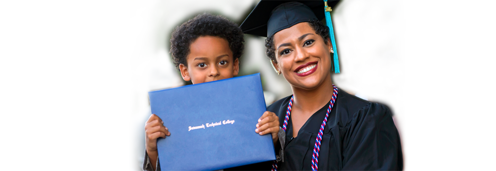 Savannah Tech graduate with diploma and child