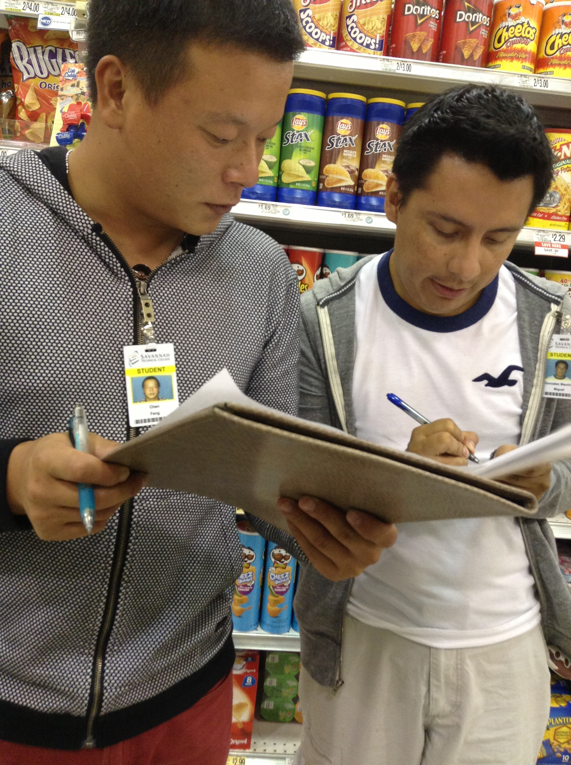 Students learning in a grocery store